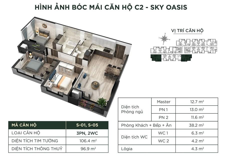 Giá căn C2 - Sky Oasis
