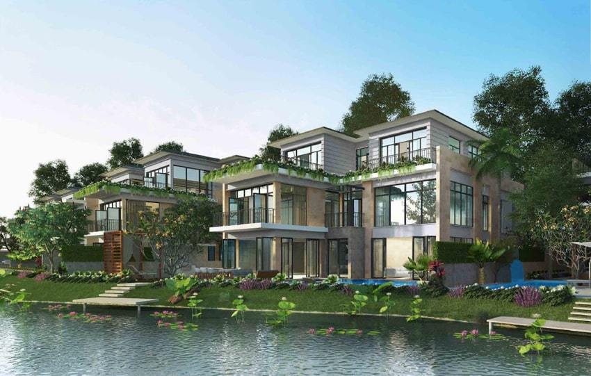 Biệt thự Coral sở hữu phong cách thiết kế trẻ trung, hòa hợp với thiên nhiên nhờ các bức tường kính