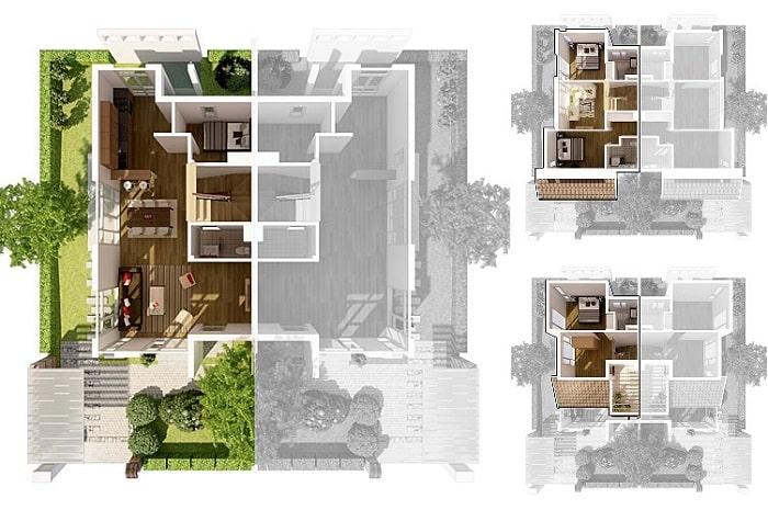 Bản thiết kế căn hộ song lập biệt thự Vườn Mai