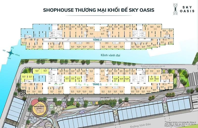 Mặt bằng shophouse chân đế Sky Oasis