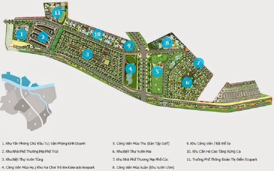 Bản đồ Ecopark giai đoạn 1