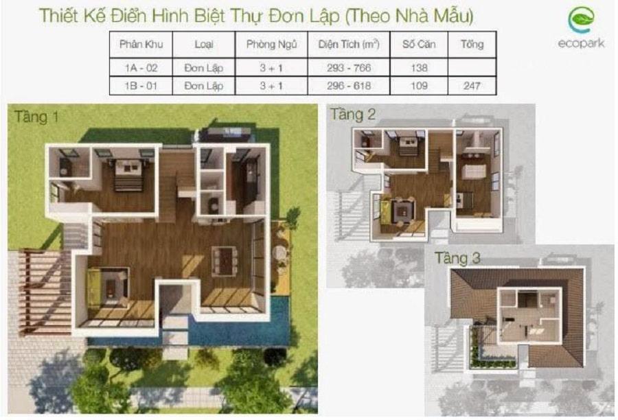 Thiết kế các căn biệt thự đơn lập vườn Tùng Ecopark