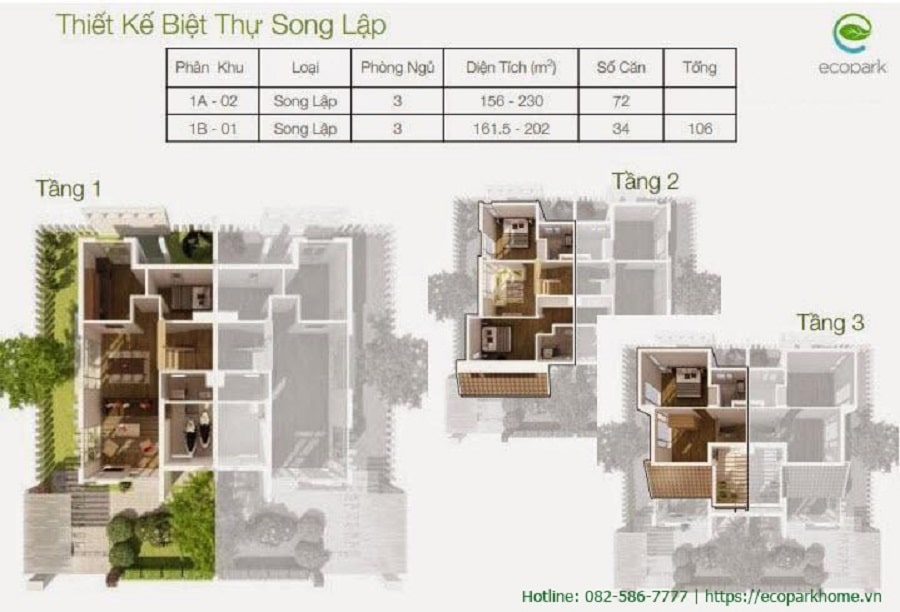 Thiết kế các căn biệt thự song lập vườn Tùng Ecopark
