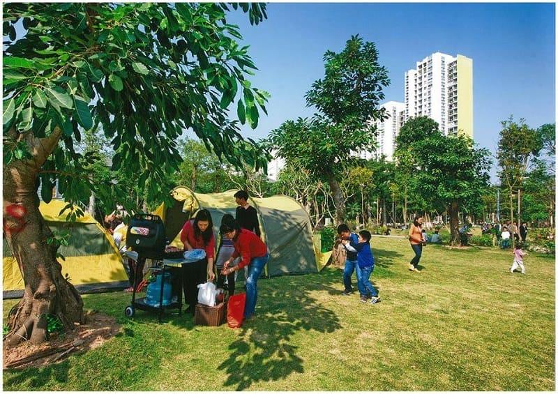 Cắm trại tại công viên mùa Thu Ecopark