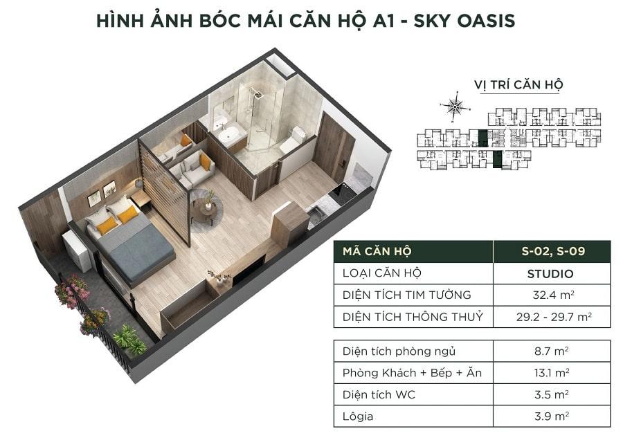 Hình ảnh bóc mái căn hộ A1 - Sky Oasis