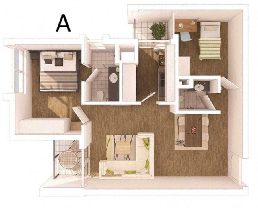 Thiết kế căn hộ loại A - 71m2