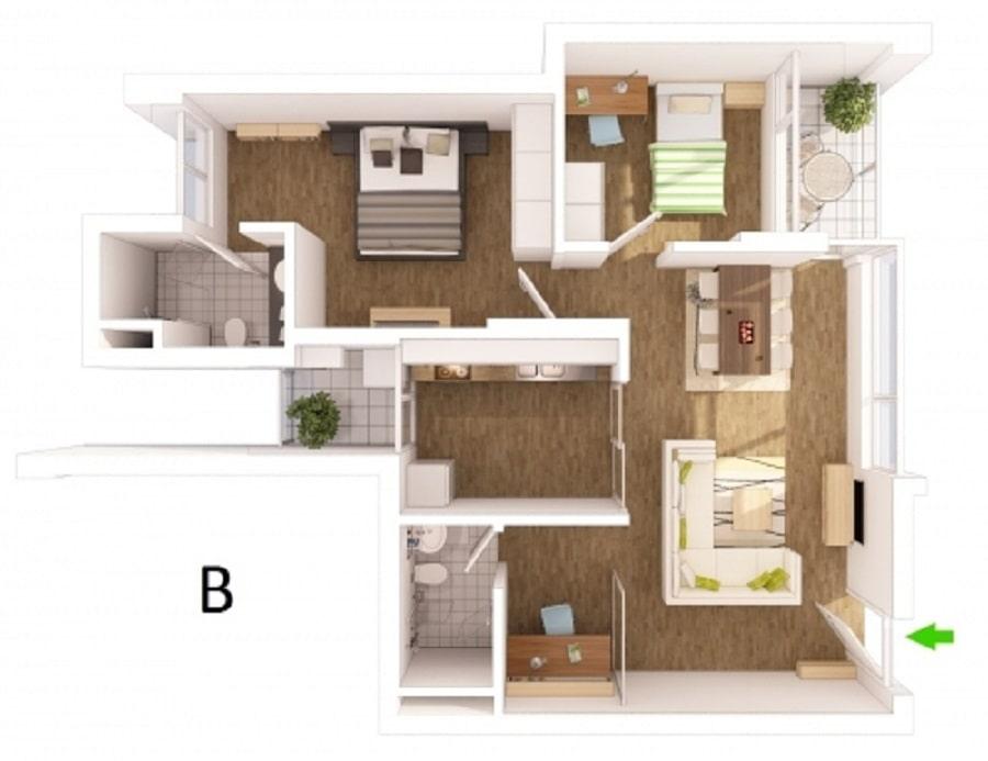 Thiết kế căn hộ loại B - 83m2