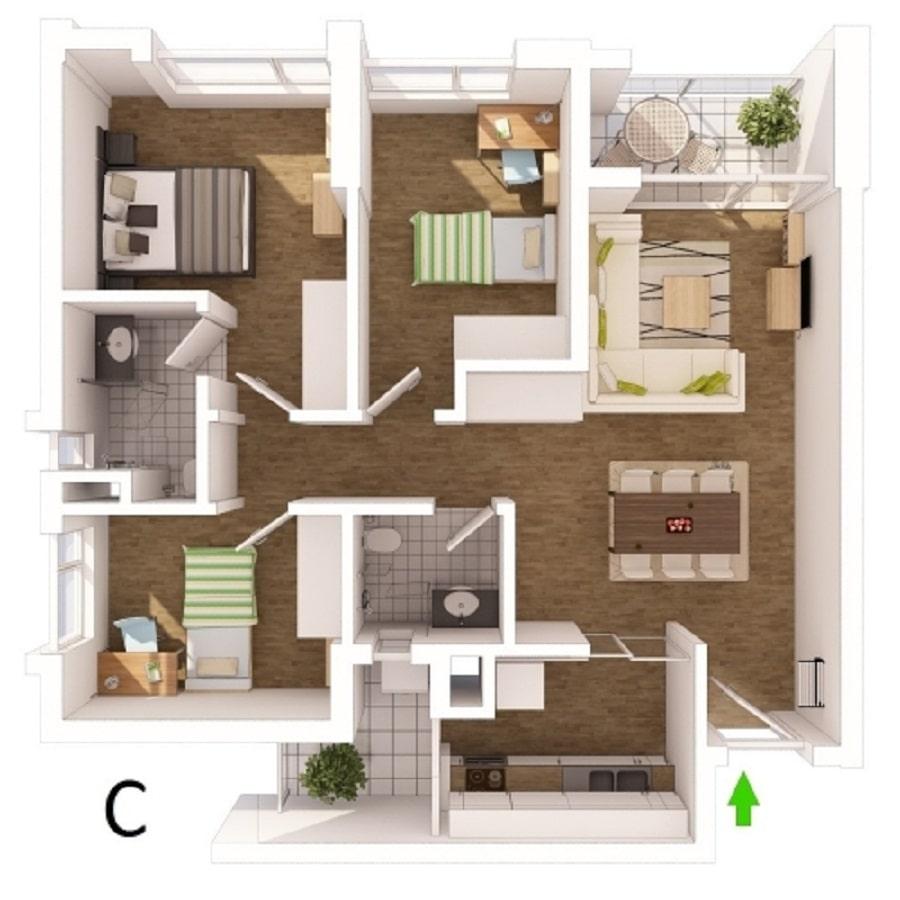 Thiết kế căn hộ loại C - 92m2
