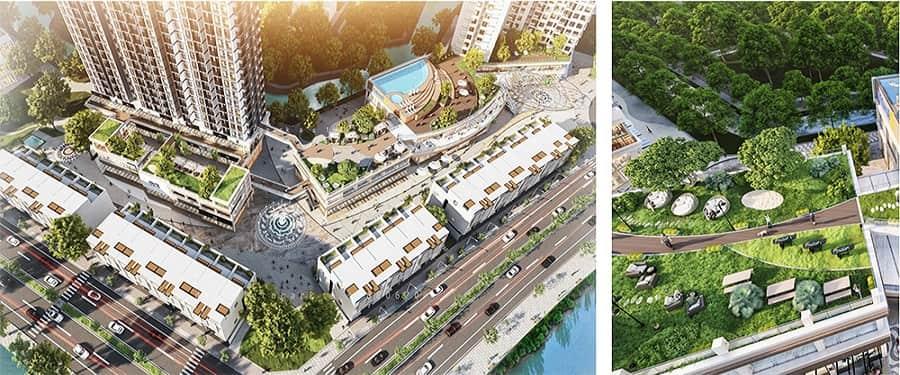 Tổ hợp vườn thượng uyển tầng 3 dài hơn 300m diện tích hơn 4000m2