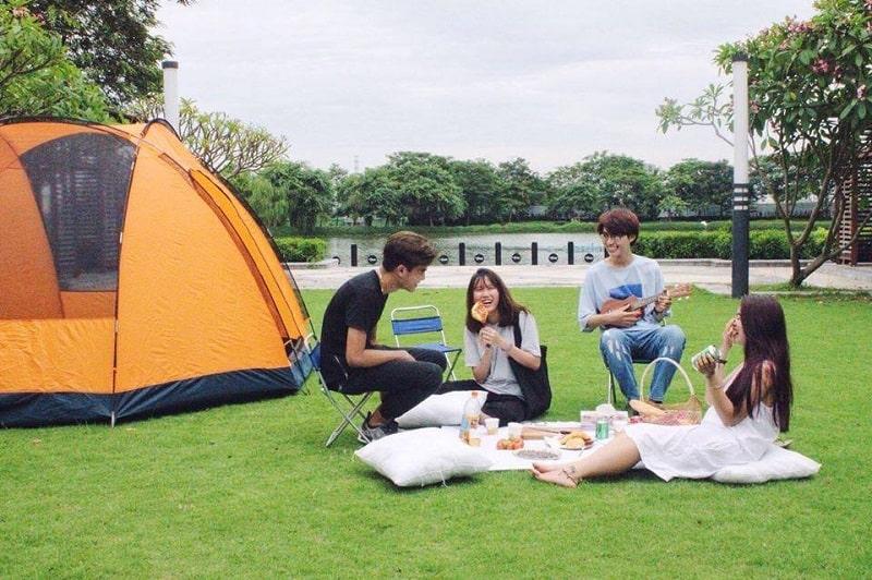 Thuê lều trại và bếp nướng ngay tại công viên mùa hạ Ecoaprk