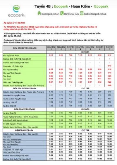 Lịch trình tuyến xe buýt 4B Ecopark