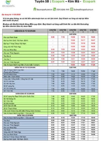 Lịch trình tuyến xe buýt 5B Ecopark
