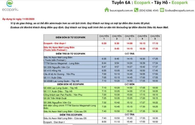 Lịch trình tuyến xe buýt 6A Ecopark