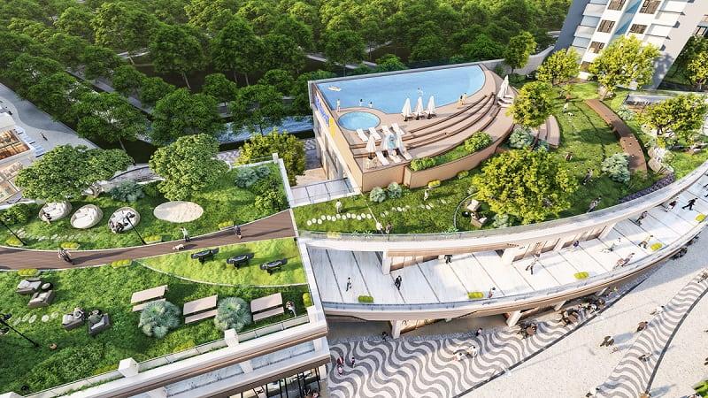 Bể bơi ngoài trời được thiết kế theo phong cách resort Bali