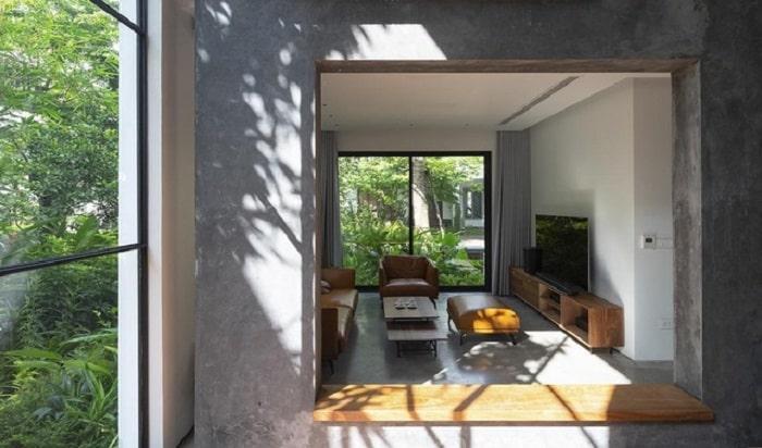 Phòng khách được thiết kế mở