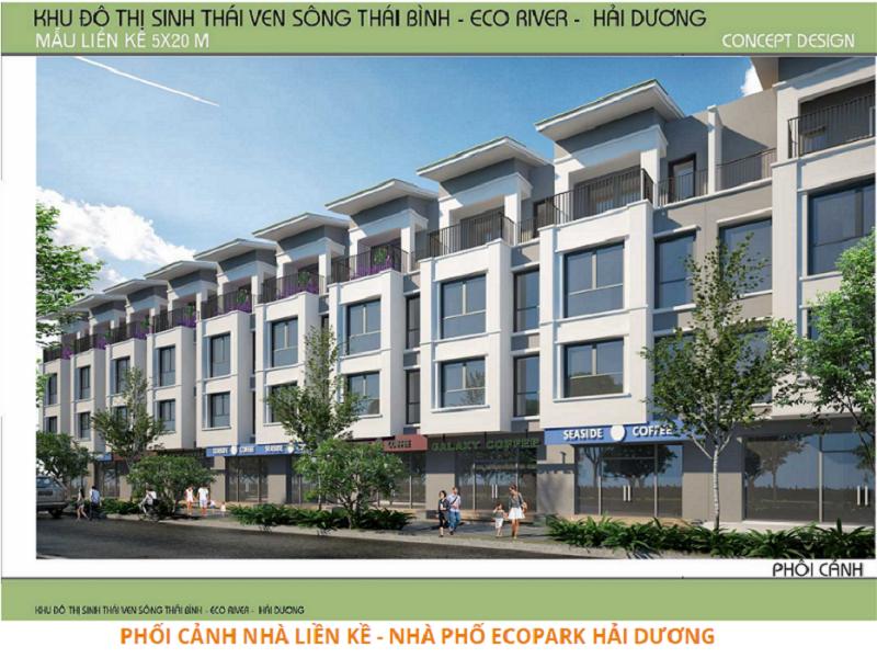 Phối cảnh khu chung cư dự án Ecorivers Hải Dương