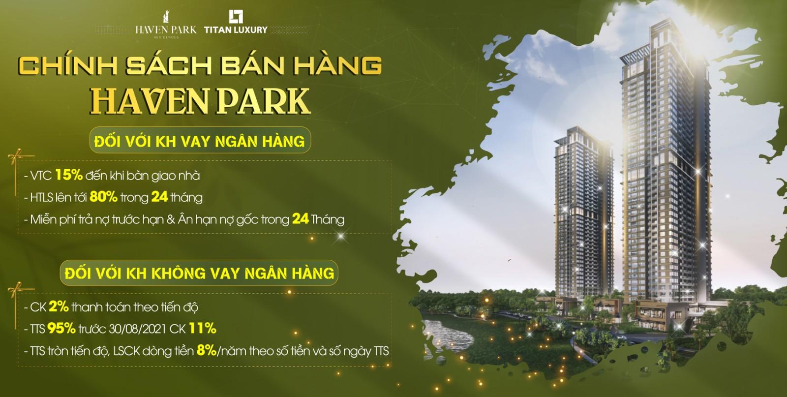 Chính sách bán hàng chung cư Haven Park Ecopark