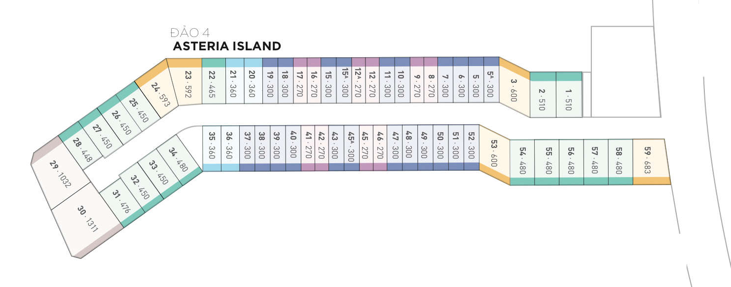 Mặt bằng thiết kế biệt thự đảo Asteria