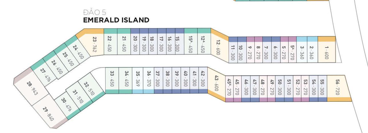 Mặt bằng thiết kế biệt thự đảo Emerald