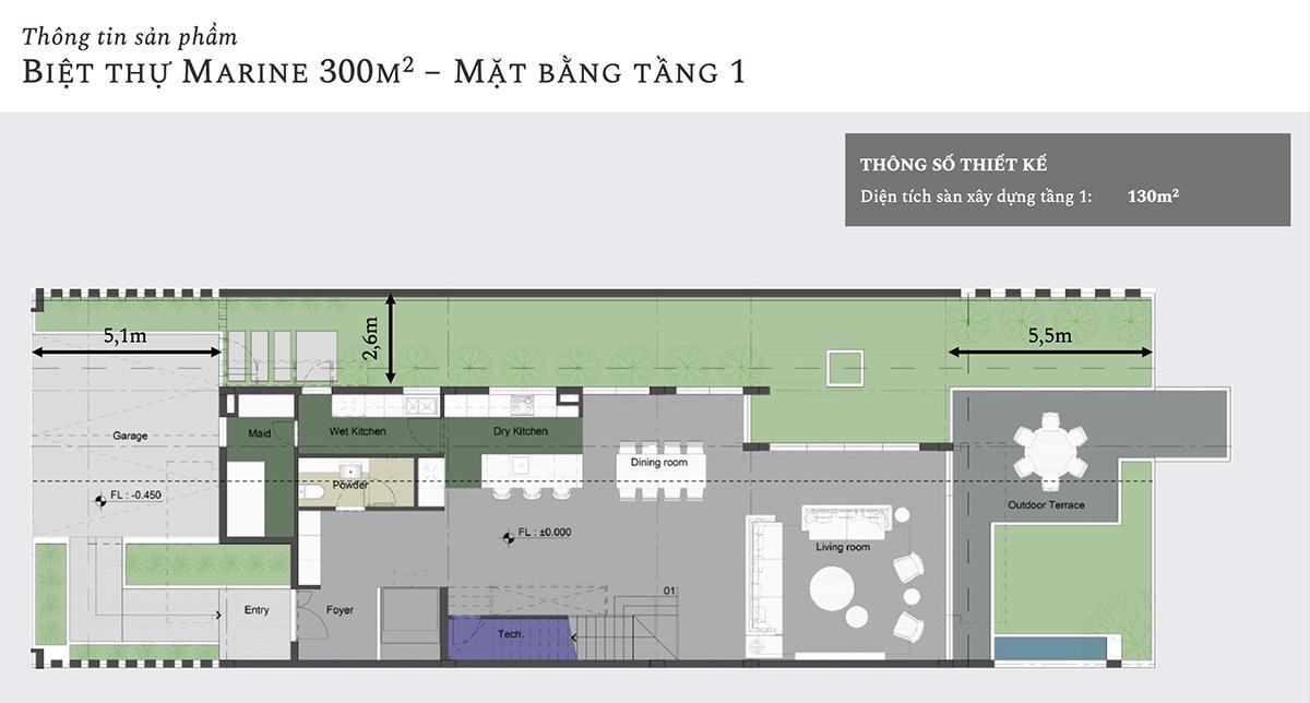 Mặt bằng thiết kế tầng 1 biệt thự Marine