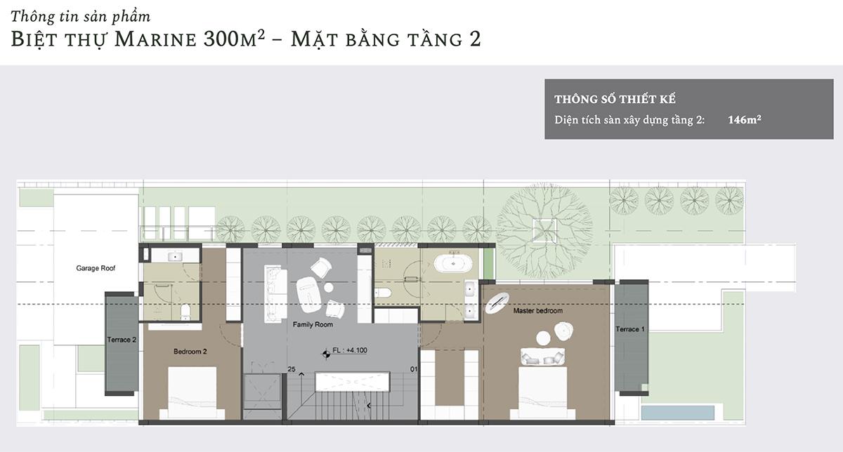 Mặt bằng thiết kế tầng 2 biệt thự Marine