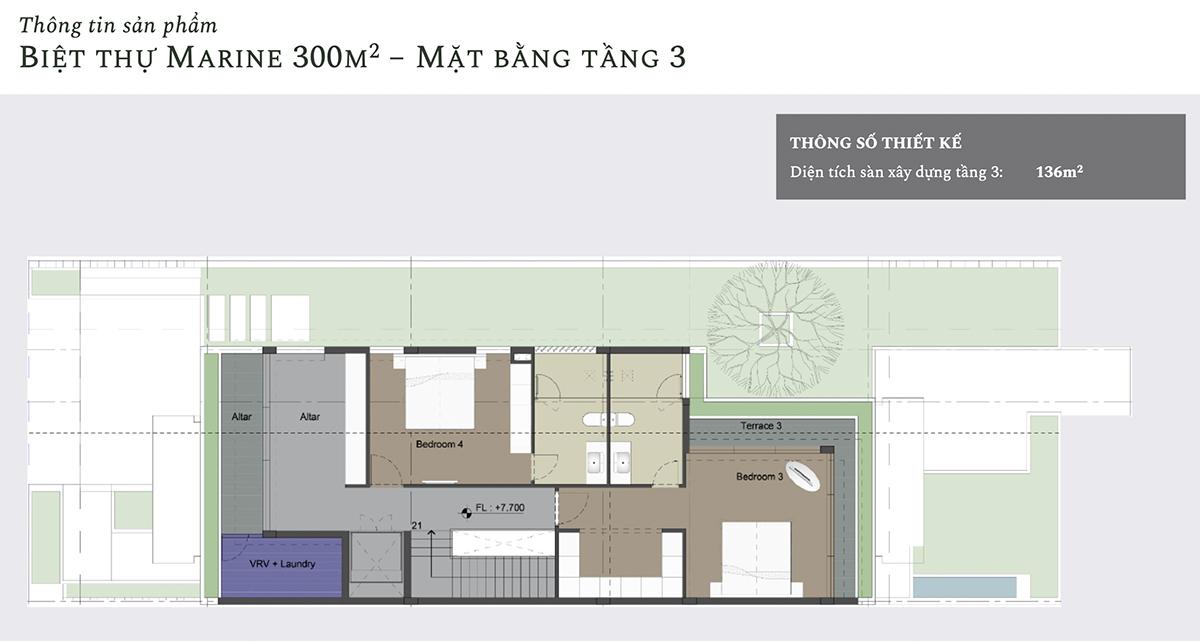 Mặt bằng thiết kế tầng 3 biệt thự Marine