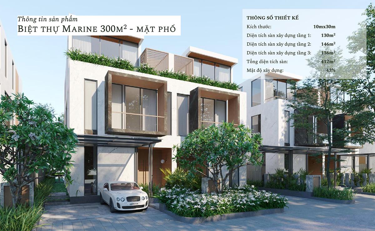 Thiết kế mặt phố biệt thự đảo Marine