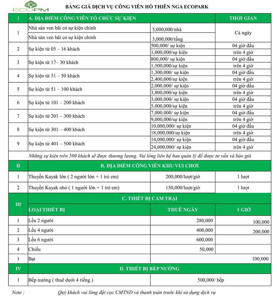 Bảng giá dịch vụ công viên Hồ Thiên Nga